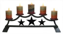 Wrought Iron Fireplace Candle Holder - Tri Star