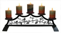 Wrought Iron Fireplace Candle Holder - Pine Cones