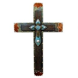 Cow-hair and Conchos Turquoise Wooden Cross