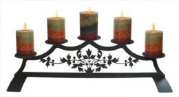 Wrought Iron Fireplace Candle Holder - Damask