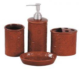 Tooled Ceramic Bath Set Red