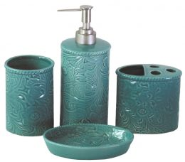 Turquoise Tooled Ceramic Bath Set