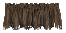 Tooled Faux Leather Valance With Fringe