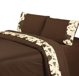 Cowhide Trimmed Sheet Set In Chocolate