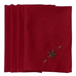 Embroidered 4 pc Western Star Napkin Set In Red
