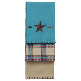 Embroidered 3 pc Western Star Kitchen Towel Set In Turquoise