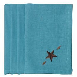 Embroidered 4 pc Western Star Napkin Set In Turquoise