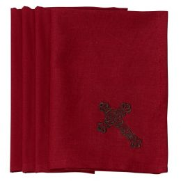 Embroidered 4 pc Cross Napkin Set - Red