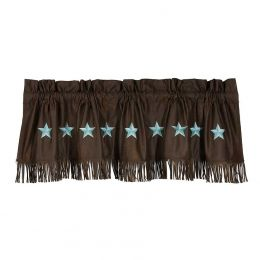 Turquoise Laredo Fringed Window Valance