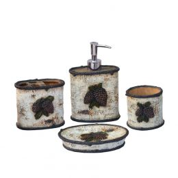 Woodland 4 PC Pine Cone Bath Accessory