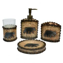 Rustic 4 Piece Bear Bath Set