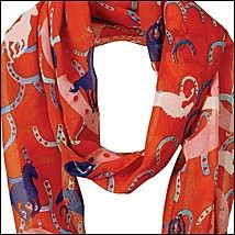Horse and Horseshoes Infinity Scarf Sun-kissed Orange and Cobalt