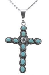 10 Stone Cross Necklace- Turquoise 28in