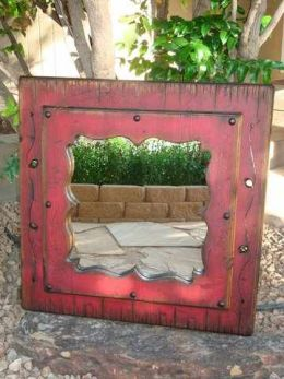 Rustic Distressed Wood Framed Wall Mount Mirror