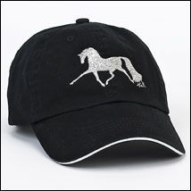 Trotting Horse Black Embroidered Cap