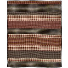 Quilted Throw - Rustic Plaid Strip Pattern - 100% Cotton