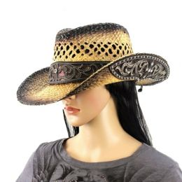 Straw Raffia Hat Bronze Shimmer with Cross