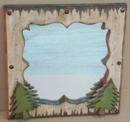 Rustic Bunkhouse Mirror With Tree Accents