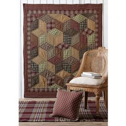 Quilted Throw - Tumbling Block Plaid - 100% Cotton