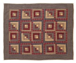 Hand Quilted Throw - Log Cabin Patchwork - 100% Cotton