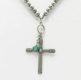 Silver Cross Necklace w/Turquoise Accent