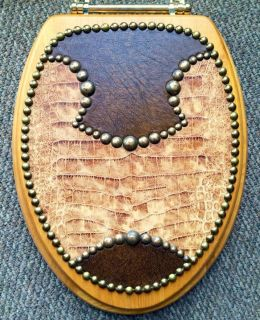 Rustic 100% Genuine Leather Toilet Seat w/ Decorative Tacking