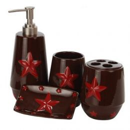 Four Piece Red Star Bathroom Set