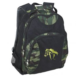 Camo Backpack - Green and Black - Gold Horse Design