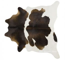 Luxury Brazilian Chocolate & White Natural Cowhide Rug