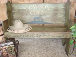 Santa Fe Pine Bench - Handcrafted w/ Distressed, Rustic Look