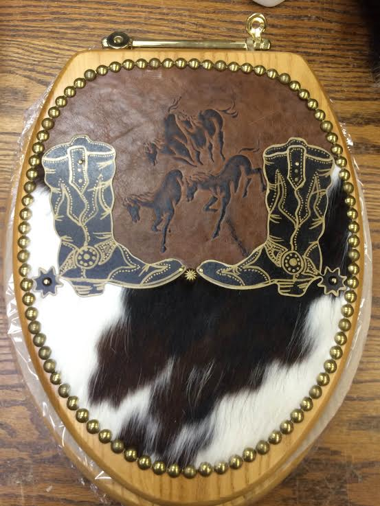 Cowboy Boots And Spurs Western Cowhide Toilet Seat