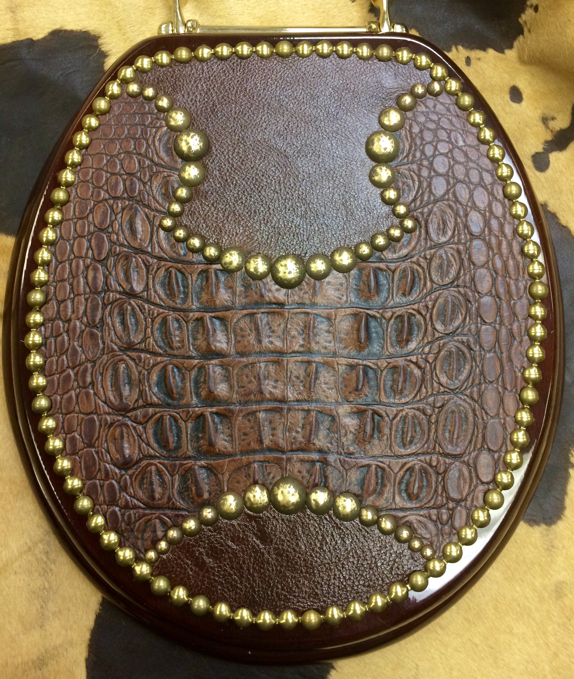 Rustic 100 Genuine Leather Toilet Seat W Decorative Tacking