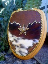 Genuine Alligator Leather & Hair on Cowhide Toilet Seat