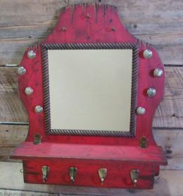 Handmade Rustic Wall Mounted Jewelry Display With Mirror