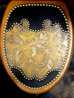 Hair on Cowhide Western Toilet Seat w/Leaf Embossed Leather
