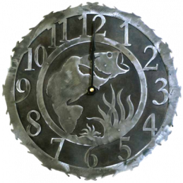 Leaping Bass Recycled Steel Clock