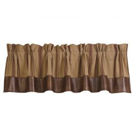 Rustic Ruidoso Tan Stripe and Faux Leather Window Valance