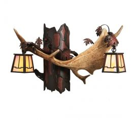 "23.5"" Fallow Antlers 2 Light Wall Sconce"