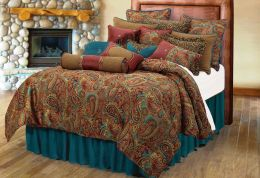 San Angelo Comforter Set Teal Bed Skirt
