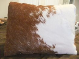 Brown & White Hair On Hide Western Pillow