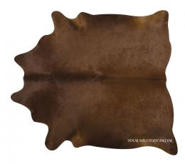 Rustic Style Solid Brown Natural Brazilian Cowhide Rug