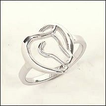 Sterling Silver Horse Heart Ring