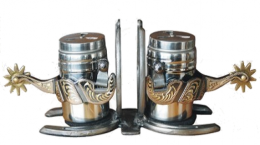 Salt and Pepper Shakers - Spurs with Horseshoe Holder