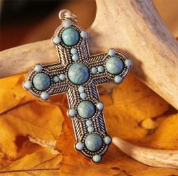 Beaded Turquoise Cross Necklace