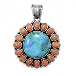 Turquoise Sunburst Pendant with Coral Stones - Sterling Silver