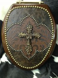 Western Cross Decorated Genuine Leather Toilet Seat