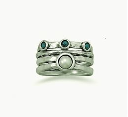 Sterling Silver Pearl & Turquoise Ring