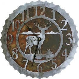 White-tail Buck Recycled Steel Clock