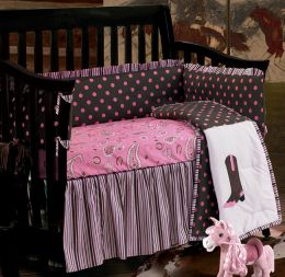 Pink Paisley Western Crib Bedding Set